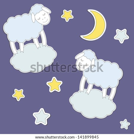 Cute sheep,moon and stars. Vector seamless pattern - stock vector