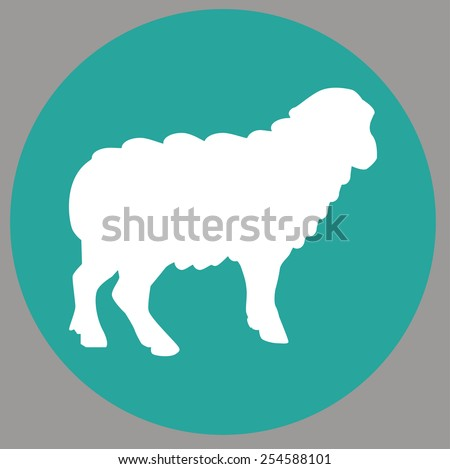 Cute sheep on grey background. Vector illustration. - stock vector