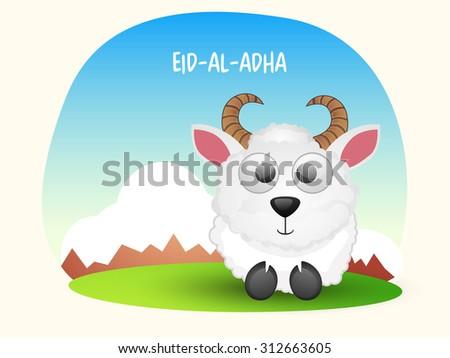 Cute sheep on shiny nature background for Islamic Festival of Sacrifice, Eid-Al-Adha celebration. - stock vector