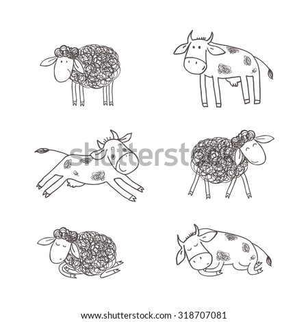 Cute sheeps and cows. Children's illustration in a doodle style. - stock vector
