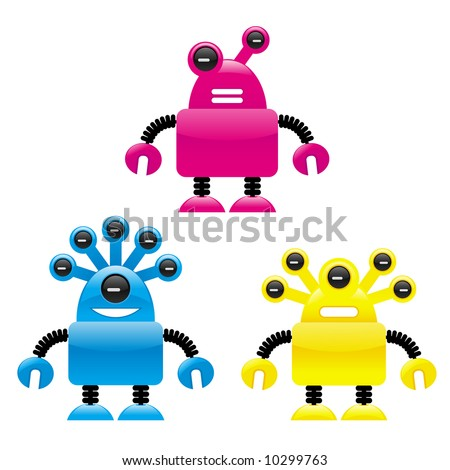 Cute shiny robot visitors from another planet - stock vector