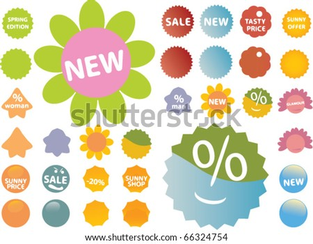 cute shopping stickers. vector - stock vector