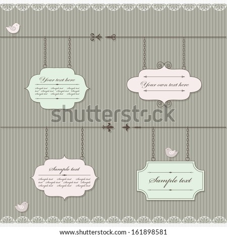 Cute signboard set with lace and birds in pastel pink and green colors. - stock vector