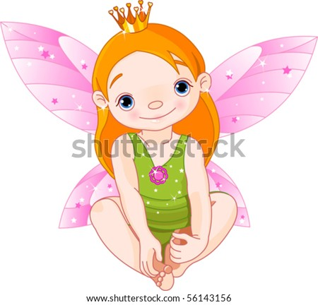 Cute sitting  little fairy Princess with crown - stock vector