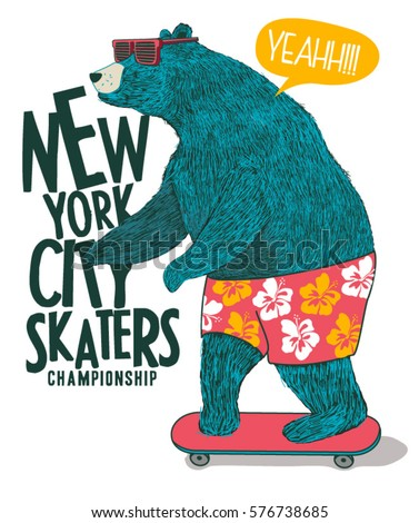 cute skater bear vector design for t-shirt