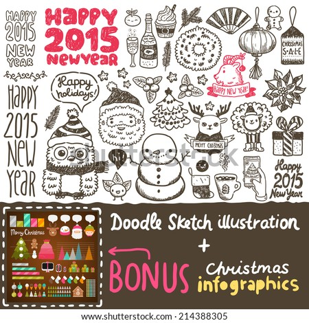Cute sketch doodle Happy New Year background with santa claus, deer, goat, sheep, Chinese lantern, cacao, tree, gift, owl, snowman, socks, fan, mandarin, flower - stock vector