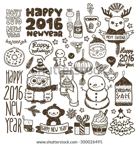 Cute sketch doodle Happy New Year set with santa claus, deer, monkey, Chinese lantern, cacao, tree, gift, owl, snowman, socks, mandarin, flower, berry, Sale tag, cupcake, ginger man, ribbon... - stock vector