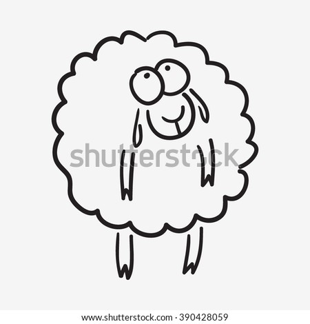 cute sketch doodle sheep - stock vector