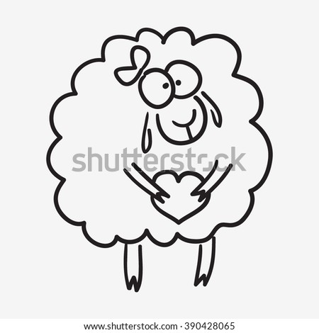 cute sketch doodle sheep with heart and bow - stock vector