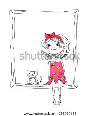 Cute sketch girl and cat - stock vector