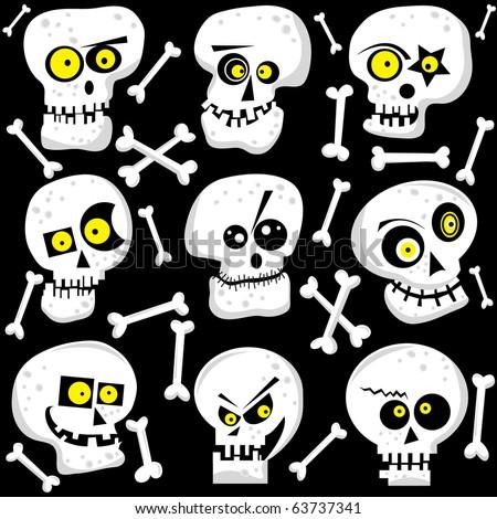 Cute Skull Faces - stock vector