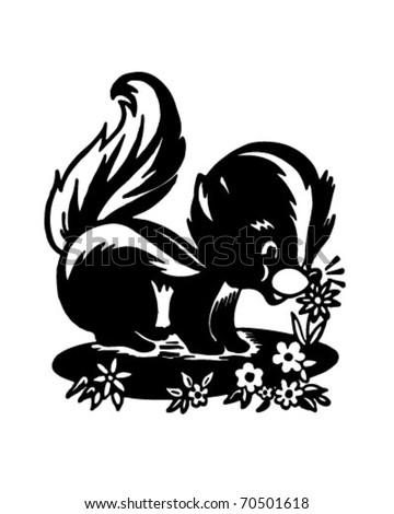 Cute Skunk - Retro Ad Art Illustration - stock vector