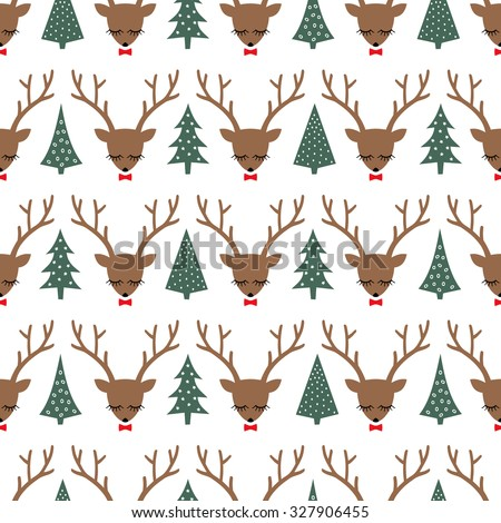 Cute sleeping deers with bows and Xmas Trees seamless pattern on white background. Deer head silhouette background for winter holidays. Winter holiday vector illustration, card. - stock vector
