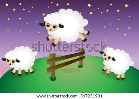 Cute sleepy sheep jumping over a fence, vector illustration - stock vector