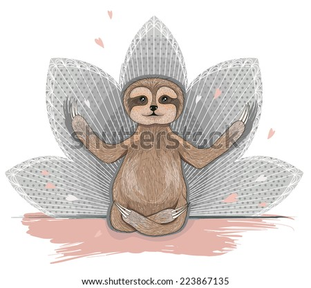 Cute sloth meditation. Yoga lotus asana. - stock vector