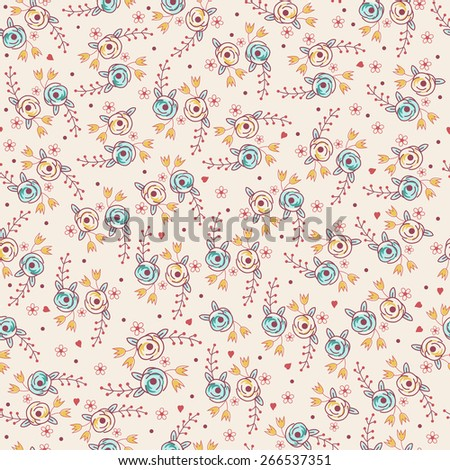 cute small flowers seamless pattern - stock vector