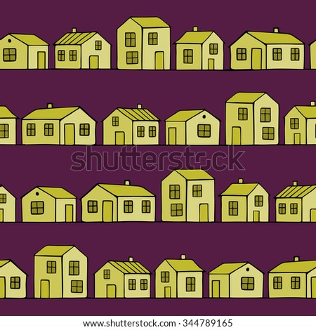 Cute small yellow houses. Vector Seamless Pattern.