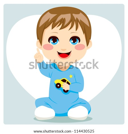 Cute smart little baby boy pointing finger up having an idea and speaking - stock vector