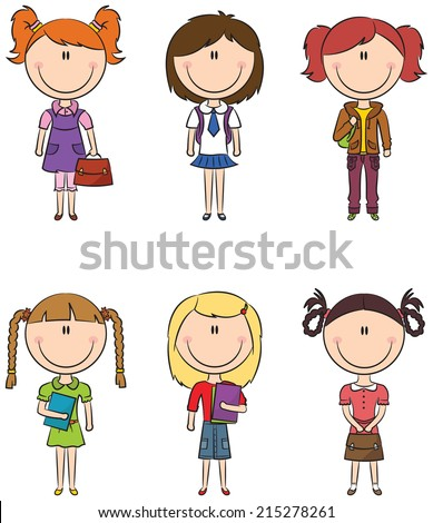 Cute smart school girls with books and bags