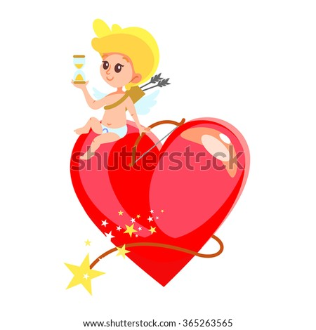 Cute smiling cupid sitting on huge heart shaped bomb and holding sand watch. Valentine's day design concept. Vector illustration isolated on white background - stock vector