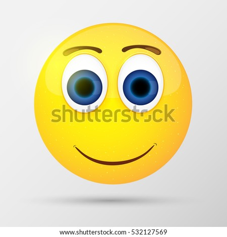 Cute smiling emoticon, emoji, smiley. Vector illustration.