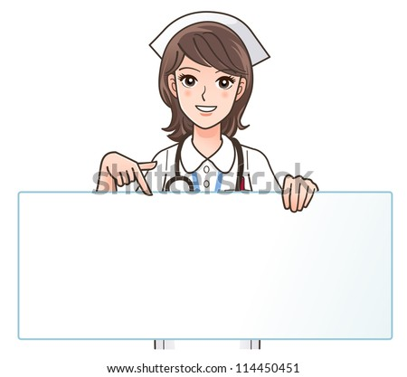 Cute Nursing Background Cute Smiling Nurse Pointing a
