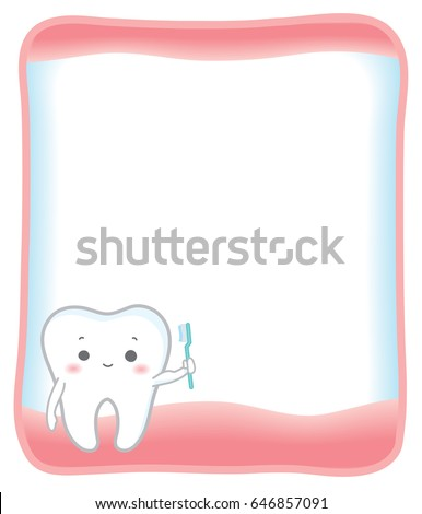Cute Smiling Teeth Standing In Gum Frame On White Background Vector Isolated