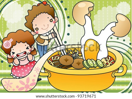 Cute Smiling Young Boy and Lovely Girl with Tasty and Spicy Instant Ramen Noodles on green background - stock vector