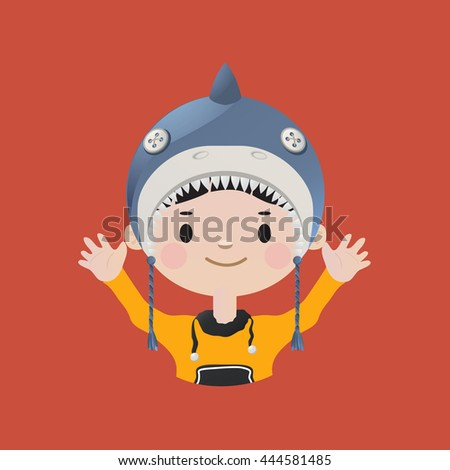 Cute smiling young boy avatar wearing a shark mask - stock vector