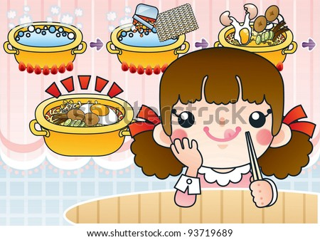 Cute Smiling Young Girl with Tasty and Spicy Ramen in a Snack Bar - background with pink lace curtain and instant noodles in pot of boiling water - stock vector