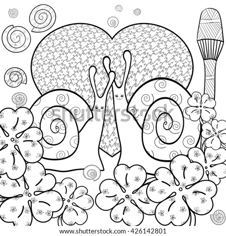 Cute Snail Adult Coloring Book Page Snails In Whimsical Garden Big Heart Summer