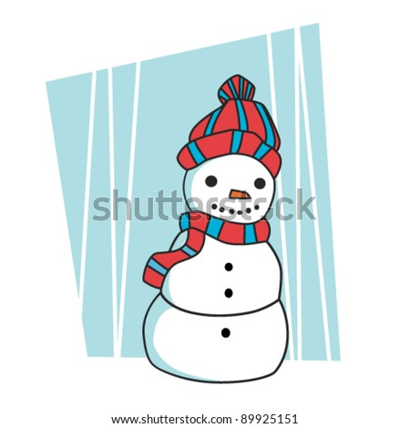 Cute snowman - stock vector