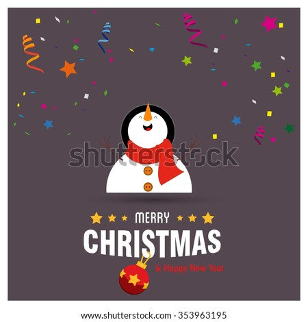 Cute Snowman Christmas decorative template Design, Christmas New Year Flat card illustration - stock vector