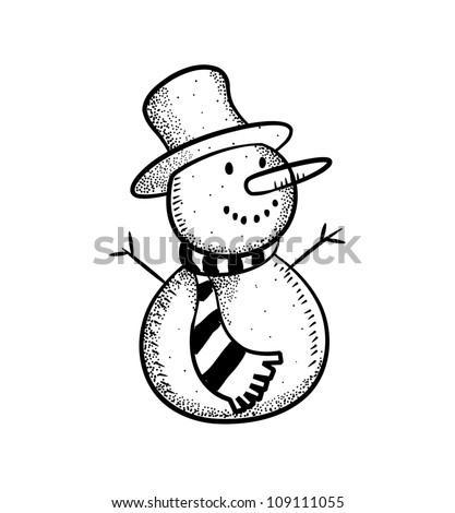 Cute snowman doodle - stock vector