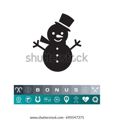 Cute snowman icon