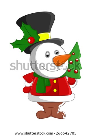 Cute Snowman Santa with Christmas Tree