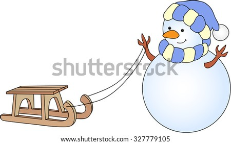 Cute snowman with sled. Vector illustration - stock vector