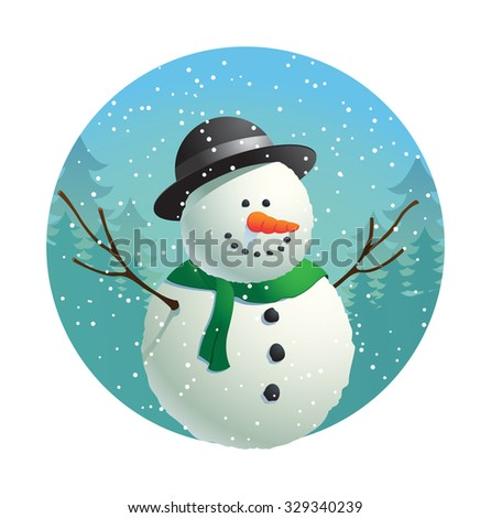 cute snowman with winter background - stock vector