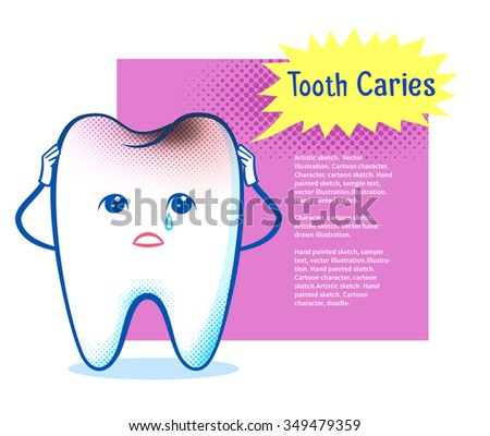 Cute sorrowful aching tooth character on burst speech bubble design background. - stock vector
