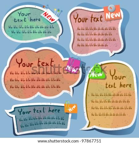 Cute Speech bubbles templates set - stock vector