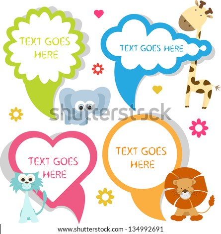 cute speech bubbles with animals - stock vector
