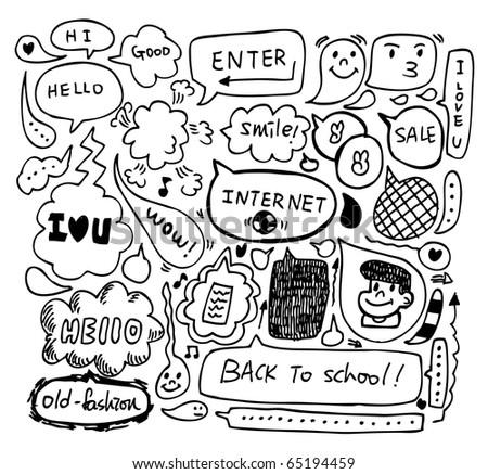 cute speech doodle - stock vector
