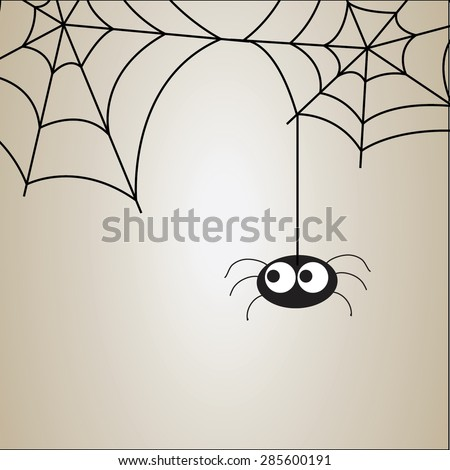 Cute spider and webs over brown background - stock vector