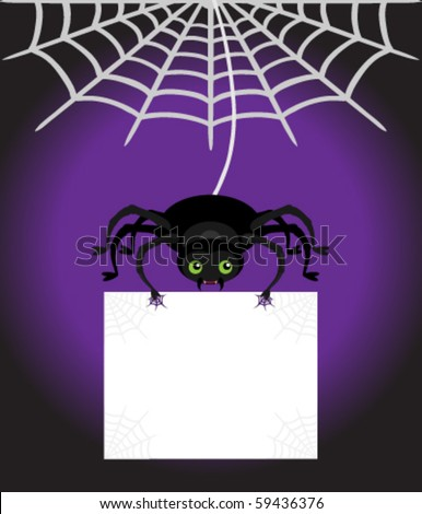 Cute Spider dangling from his web holding a blank sign with copy space on a purple and black background.