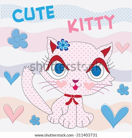 cute spotted kitten with hearts and flowers vector illustration