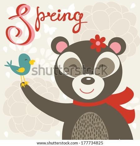 Cute spring card  with bear and bird - stock vector