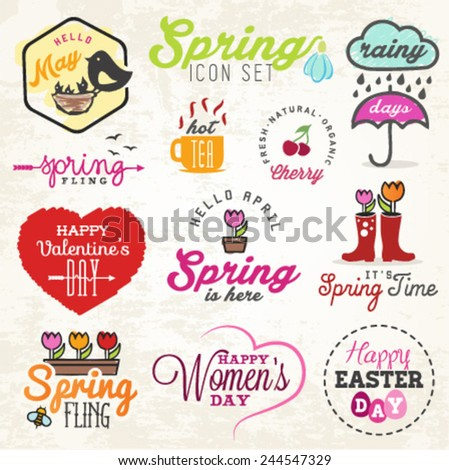 Cute Spring Illustrations and Badges Set - stock vector