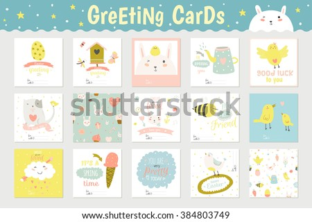 Cute square cards, notes and stickers with spring and summer illustrations. Can be used like poster or greeting holiday cards. Holidays spring and summer cartoon template collection - stock vector