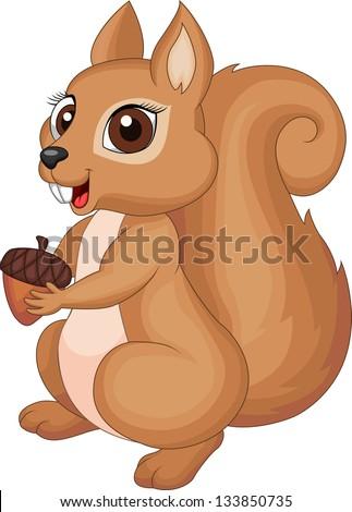 Cute squirrel cartoon holding nut - stock vector