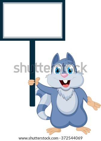 cute squirrel cartoon with blank sign - stock vector